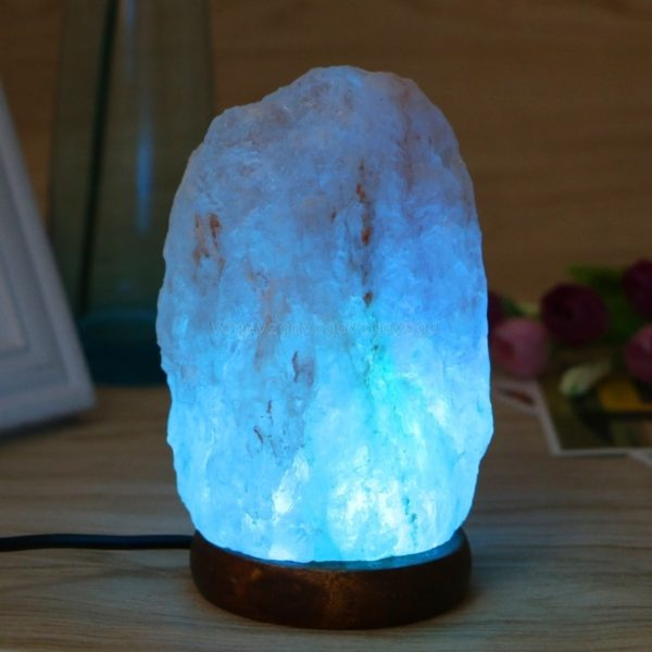 High Efficiency Hand Carved USB Wooden Base Himalayan Rock Salt Lamp Air Purifier Night Light  3d lamp  night light  lava lamp 2